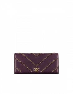 Chanel Dark Purple Lambskin Clutch Bag