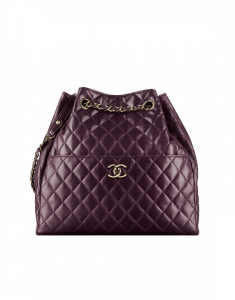 Chanel Dark Purple Quilted Lambskin Large Drawstring Bag