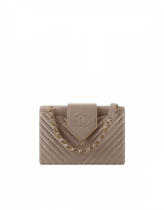 Chanel Gray Sheepskin Chevron Flap Bag