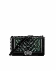 Chanel Green Embroidered Chevron Python Old Medium Boy Chanel Flap Bag