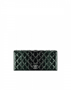 Chanel Green Embroidered Python Clutch Bag