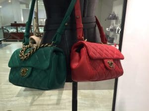 Chanel Green and Red Mini Trapezio Bags