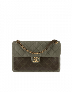Chanel Light Khaki Denim and Calfskin Flap Bag