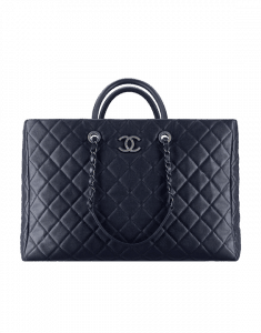 Chanel Navy Blue Quilted Calfskin Large Shopping Bag