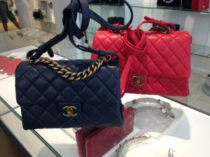 Chanel Navy and Red Small Trapezio Bags