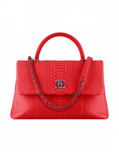 Chanel Red Python Large Coco Handle Bag