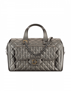 Chanel Silver Grained Metallic Calfskin Bowling Bag