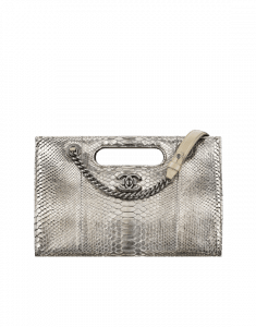 Chanel Silver Python Large Shopping Bag
