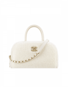 Chanel White Shearling Sheepskin Coco Handle Bowling Bag