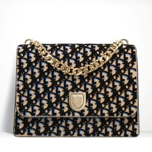 Dior Beige and Blue Dior Print Fabric Diorama Satchel Bag