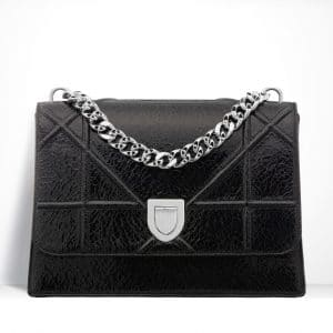 Dior Black Ceramic-Effect Deerskin Diorama Satchel Bag