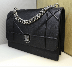 Dior Black Grained Calfskin Diorama Satchel Bag 3