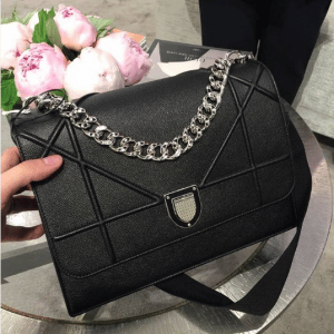 Dior Black Grained Calfskin Diorama Satchel Bag