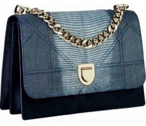 Dior Blue Pony-Effect Calfskin/Lizard Diorama Satchel Bag