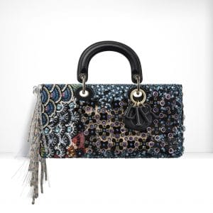 Dior Blue/Black Embroidered with Flowers Made Up Of Sequins & Fringes Runway Bag