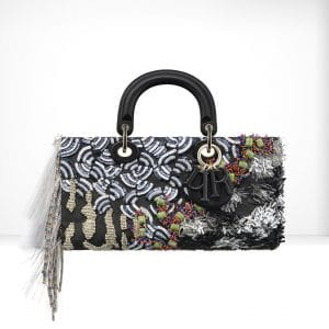Dior Blue/Black/White Embroidered with Flowers Made Up Of Sequins & Fringes Runway Bag