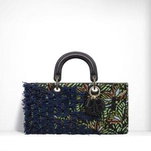 Dior Blue/Green Embroidered with Flowers Made Up Of Sequins & Bows Runway Bag