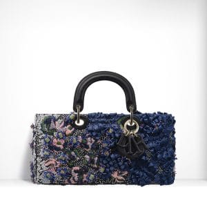 Dior Blue/Pink Embroidered with Flowers Made Up Of Sequins & Bows Runway Bag