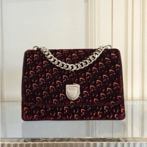 Dior Burgundy and Beige Dior Print Fabric Diorama Satchel Bag