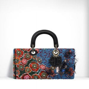 Dior Orange/Blue/Red Embroidered with Sequin Flowers Runway Bag