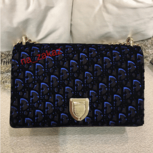 Dior Plum and Blue Dior Print Fabric Diorama Flap Bag 3