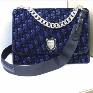 Dior Plum and Blue Dior Print Fabric Diorama Satchel Bag 3
