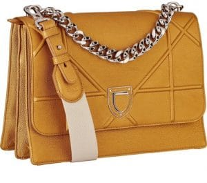 Dior Yellow Grained Calfskin Diorama Satchel Bag