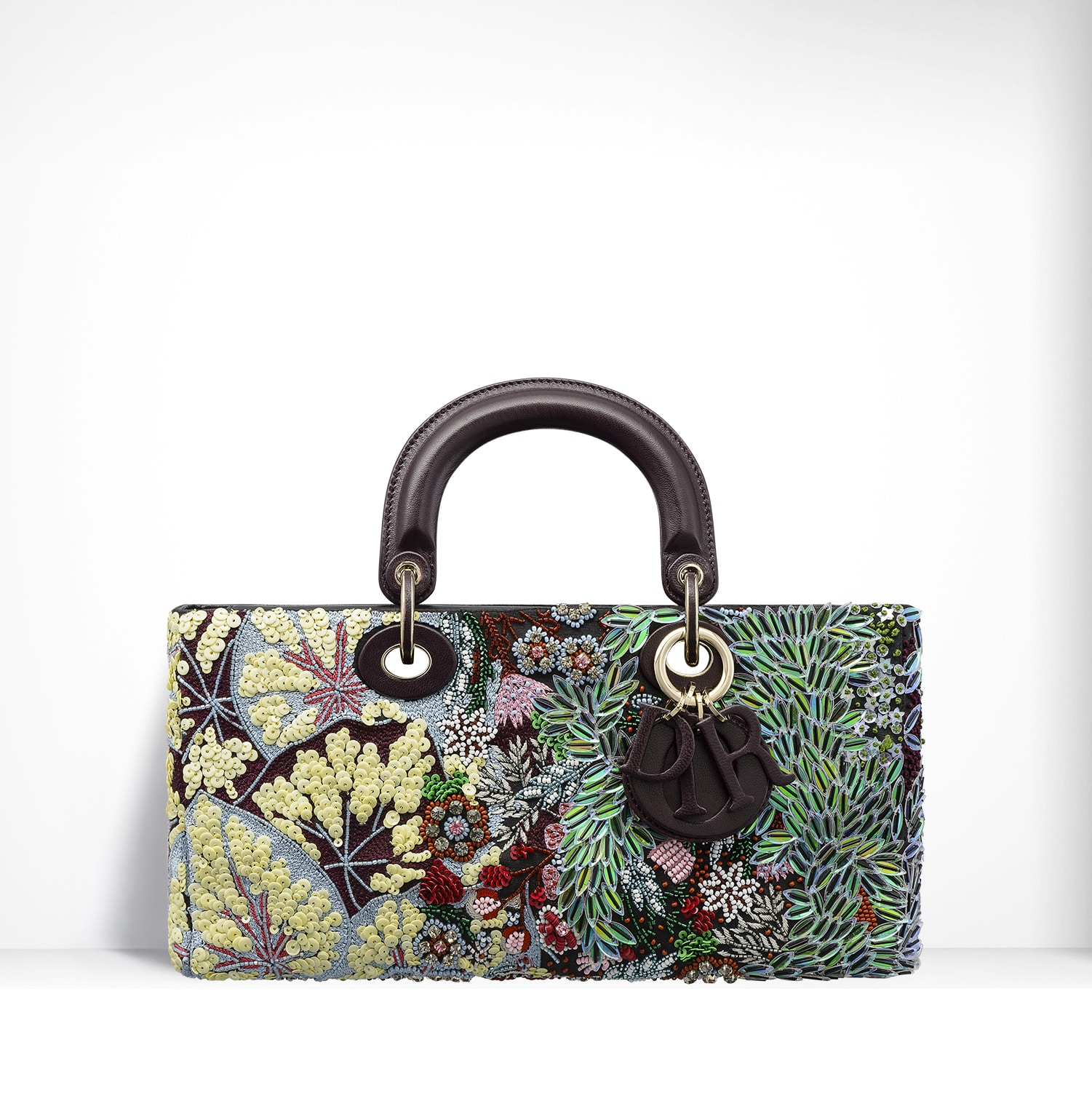 Dior Yellow Green Purple Embroidered with Sequin Flowers Runway Bag 359c4a5f19086