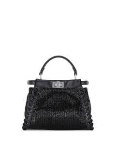 Fendi Black Beaded Whipstitch Peekaboo Mini Bag