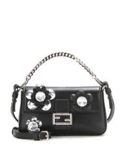 Fendi Black Flower Embellished Micro Baguette Bag