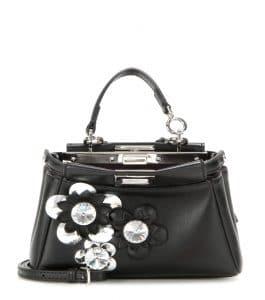 Fendi Black Flower Embellished Peekaboo Micro Bag