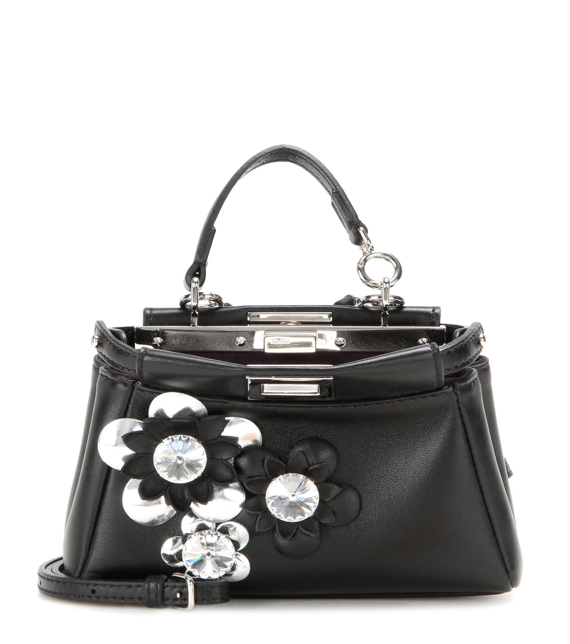 580ca89cf5a5 Fendi Black Flower Embellished Peekaboo Micro Bag