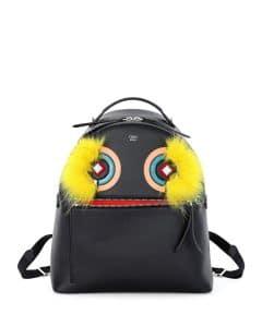 Fendi Black Fox-Fur Monster Large Backpack Bag