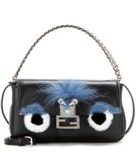 Fendi Black Fox and Rabbit Fur Monster Micro Baguette Bag