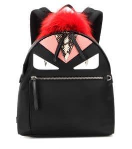 Fendi Black Fur/Snakeskin Embellished Monster Backpack Bag