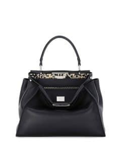 Fendi Black Granite Resin Bar Peekaboo Medium Bag