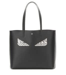 Fendi Black Monster Face Medium Roll Tote Bag