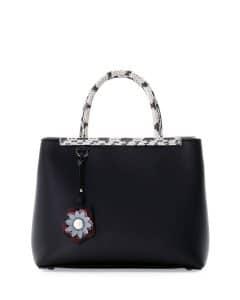 Fendi Black Snakeskin Trim 2Jours Petite Bag
