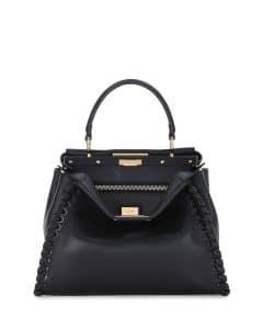 Fendi Black Whipstitch Peekaboo Medium Bag