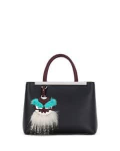 Fendi Black/Bordeaux/Aqua Monster Mirror 2Jours Petite Bag