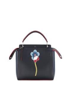 Fendi Black/Red Flower Dotcom Medium Bag