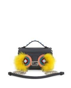 Fendi Black/Yellow Monster Double Micro Baguette Bag