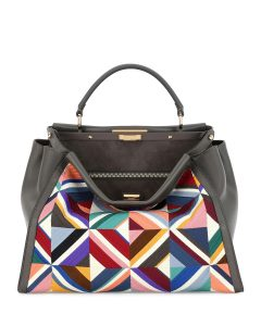 Fendi Gray Multicolor Quilted Geometric Large Peekaboo Bag