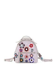 Fendi Gray Powder/:Multicolor Mini All-over Flowers Backpack Bag
