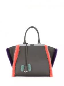 Fendi Gray/Purple/Blue Fur-Trim 3Jours Bag