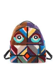 Fendi Multicolor Mixed Fur Geometric Monster Backpack Bag