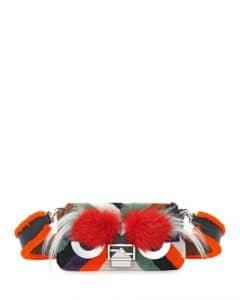 Fendi Orange Multicolor Mixed-Fur Monster Baguette Bag