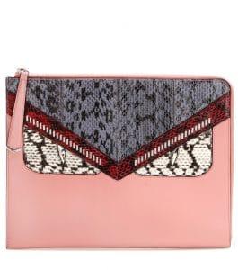Fendi Pink Leather/Snakeskin Monster Clutch Bag