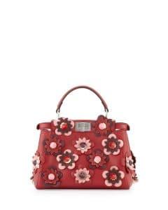 Fendi Red All-over Flowers Peekaboo Mini Bag