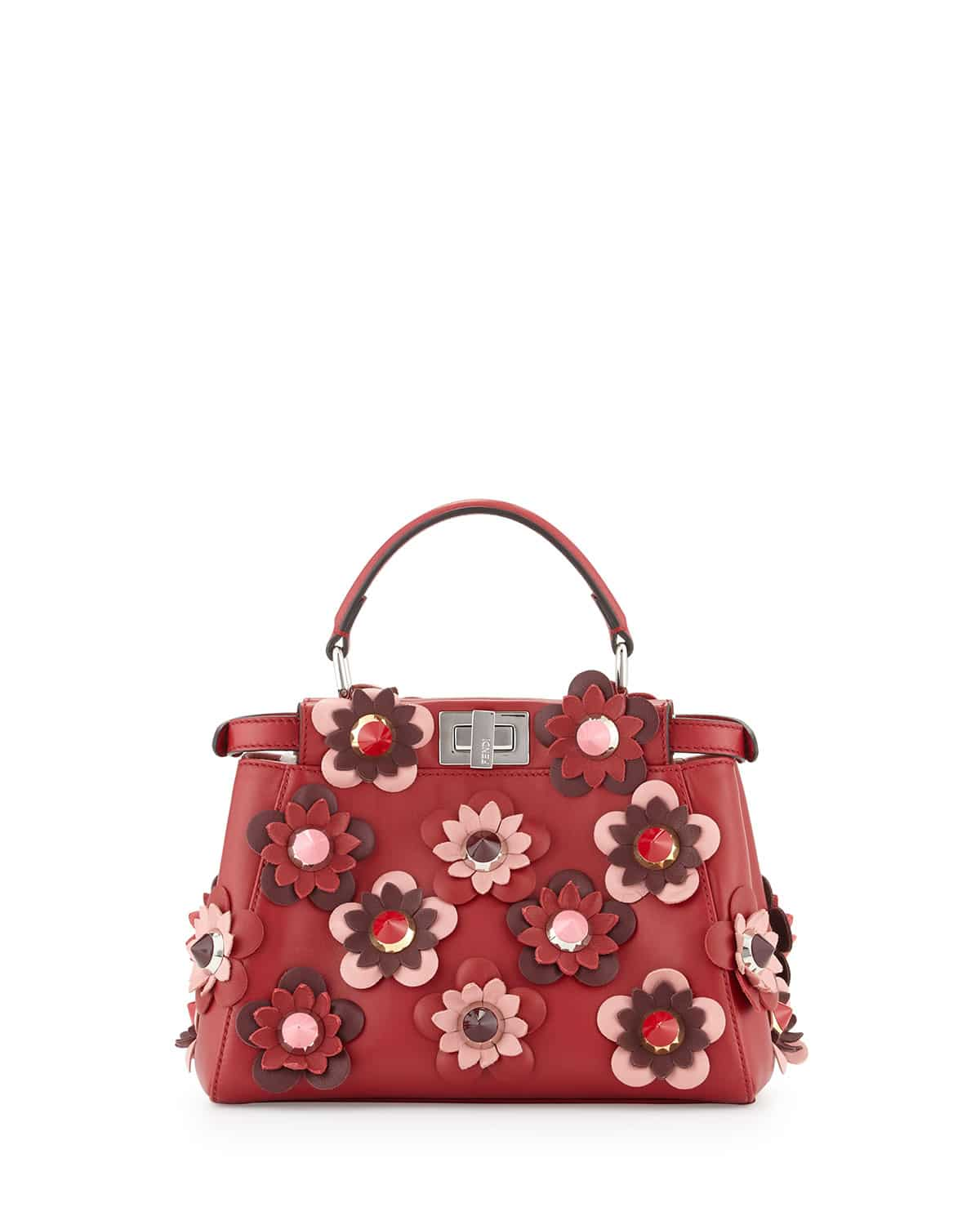 3edfcdddee35 Fendi Red All-over Flowers Peekaboo Mini Bag